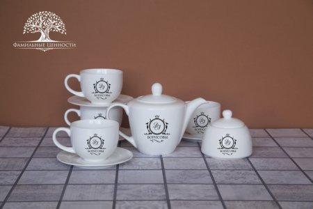4 чайные пары 280 мл + чайник + сахарница